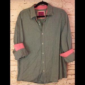 PARK WEST Button Down Shirt Gingham Black white XL